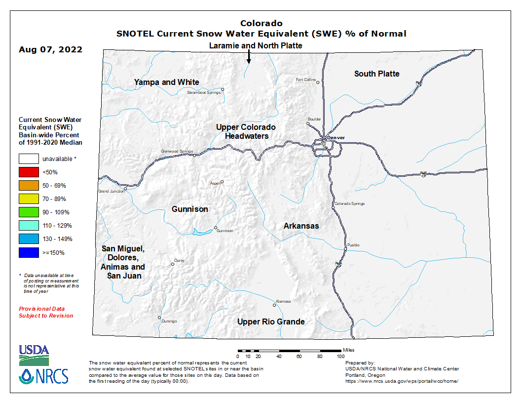 Colorado SNOTEL Current Snow Water Equivalent (SWE) % of Normal