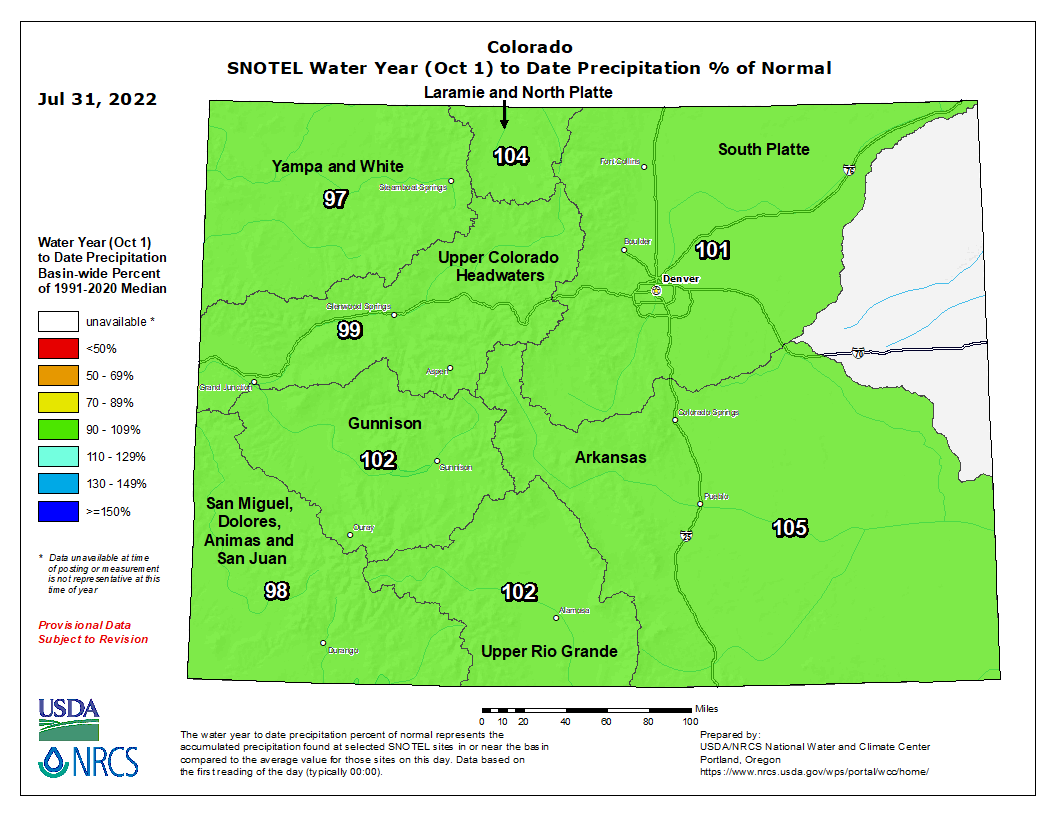 Colorado SNOTEL Water Year (Oct 1) to Date Precipitation % of Normal