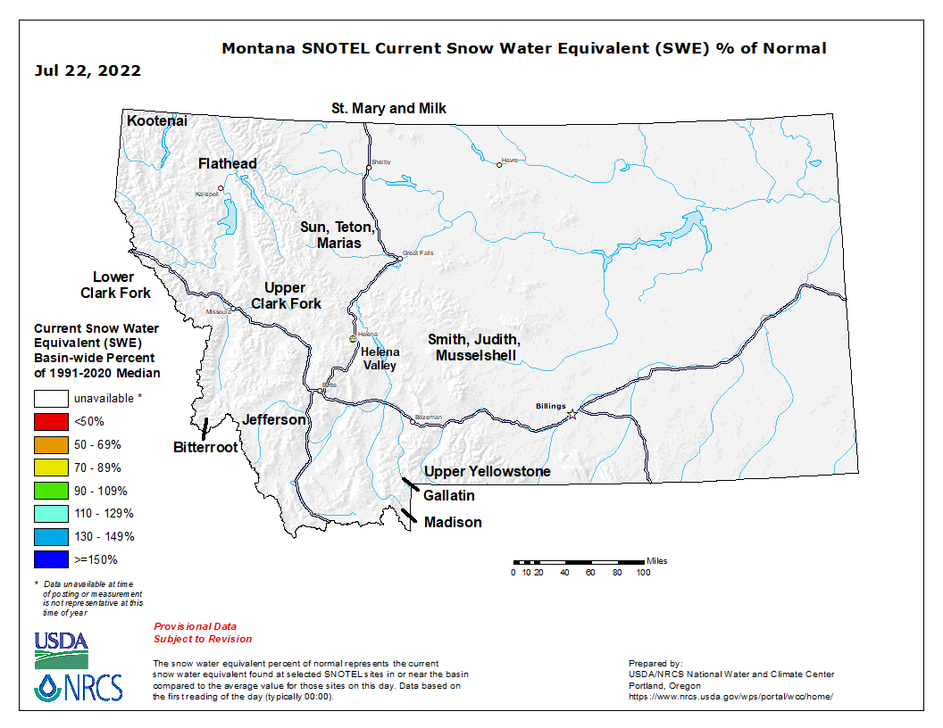 Montana Snow Pack Graph
