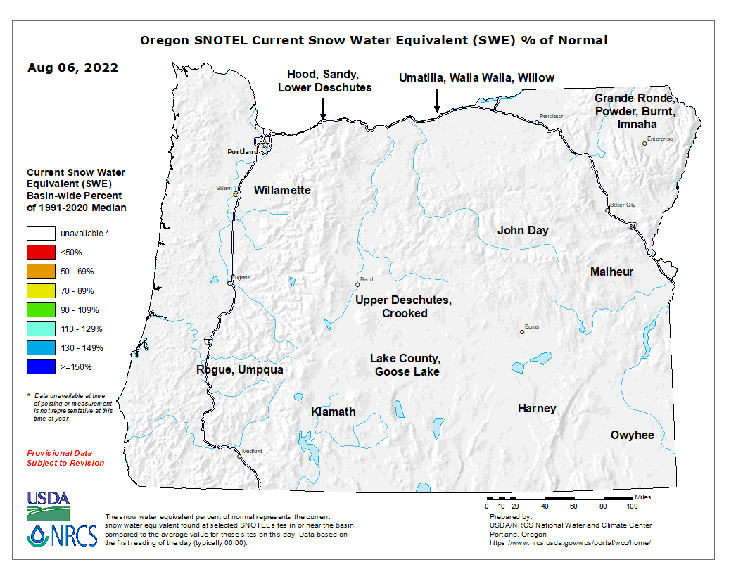 Current Water Year Snowpack Map