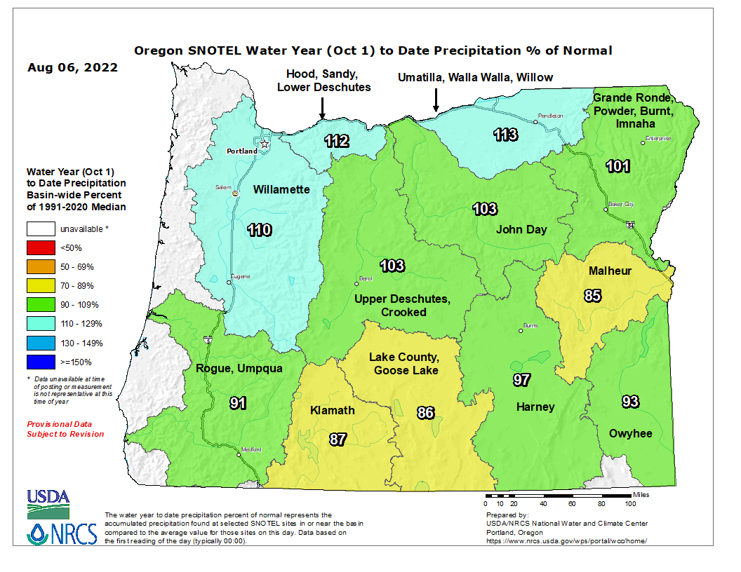 Current Water Year Precipitation Map